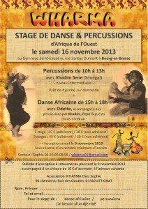 Stage de danse et percussions le 16/11/13 à Bourg-en-Bresse dans Stages flyer_stage_16nov2013-212x300