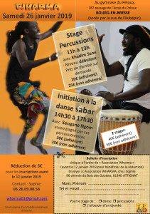 Stage de danse et percussions le 26/01/2019 à Bourg-en-Bresse dans Stages flyer-pdf-211x300